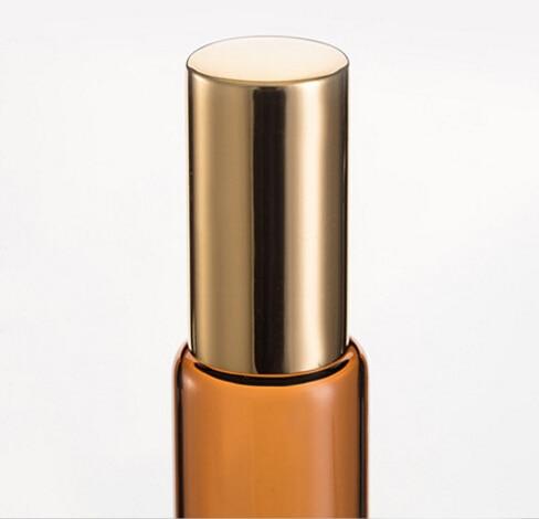 10 ML AMBER Bruin Dikke Glazen Roll Op Essentiële Oliën Fles Metalen Rollerball - 3
