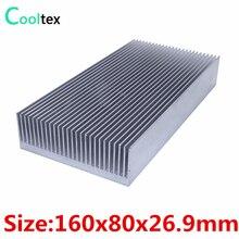 Yüksek güç 160x80x26.9mm radyatör alüminyum soğutucu için ekstrüde ısı emici elektronik LED güç amplifikatörü soğutucu soğutma