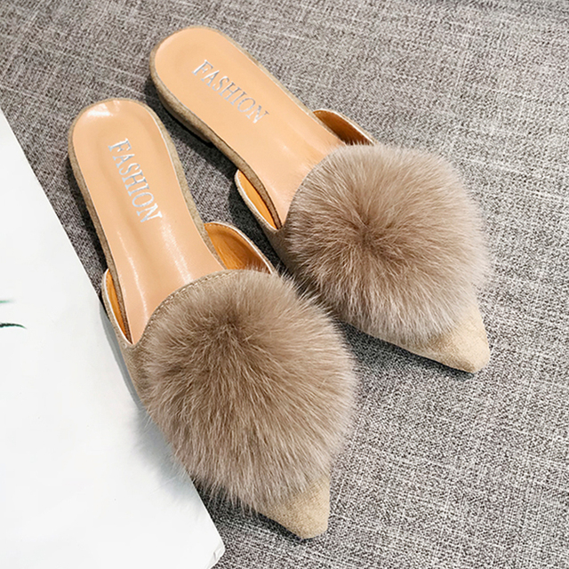 Moxxy Fur Mules Casual Shoes Woman Plus Size Fur Balls Flip Flops Slides  Pointed Toe Low Heels Fur Slippers Flats Mules feminino 9a3ee1370c85