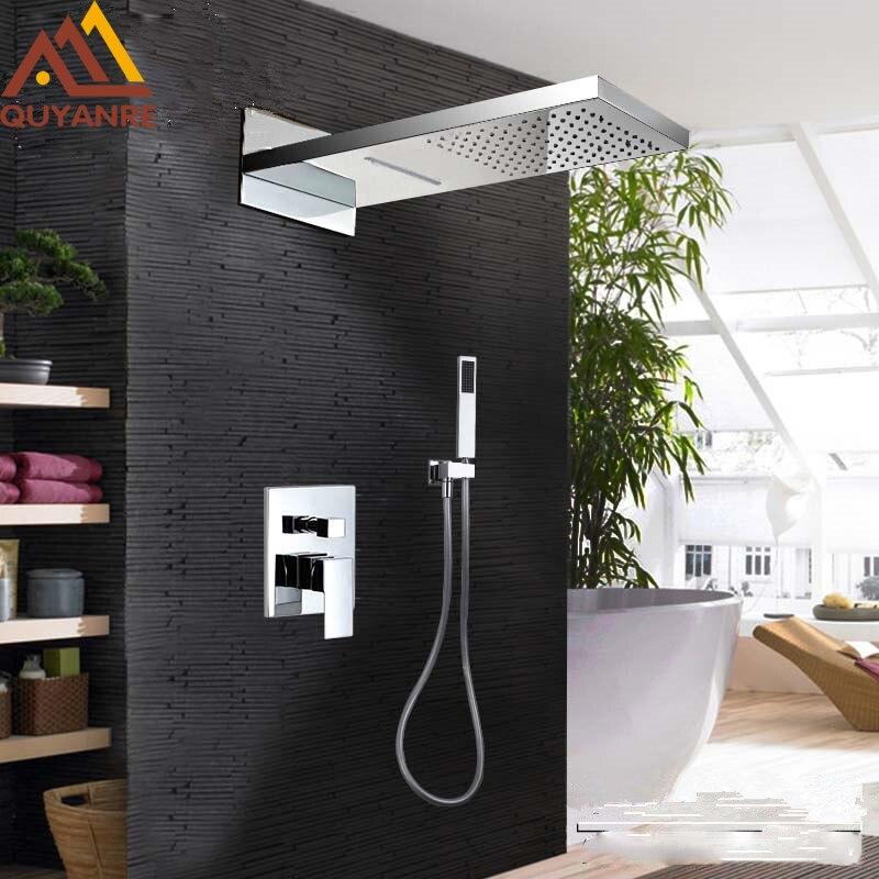 Chrome Waterfall Rainfall Shower Faucet Set Wall Mount 3 way Brass Single Handle Mixer Tap Bathroom
