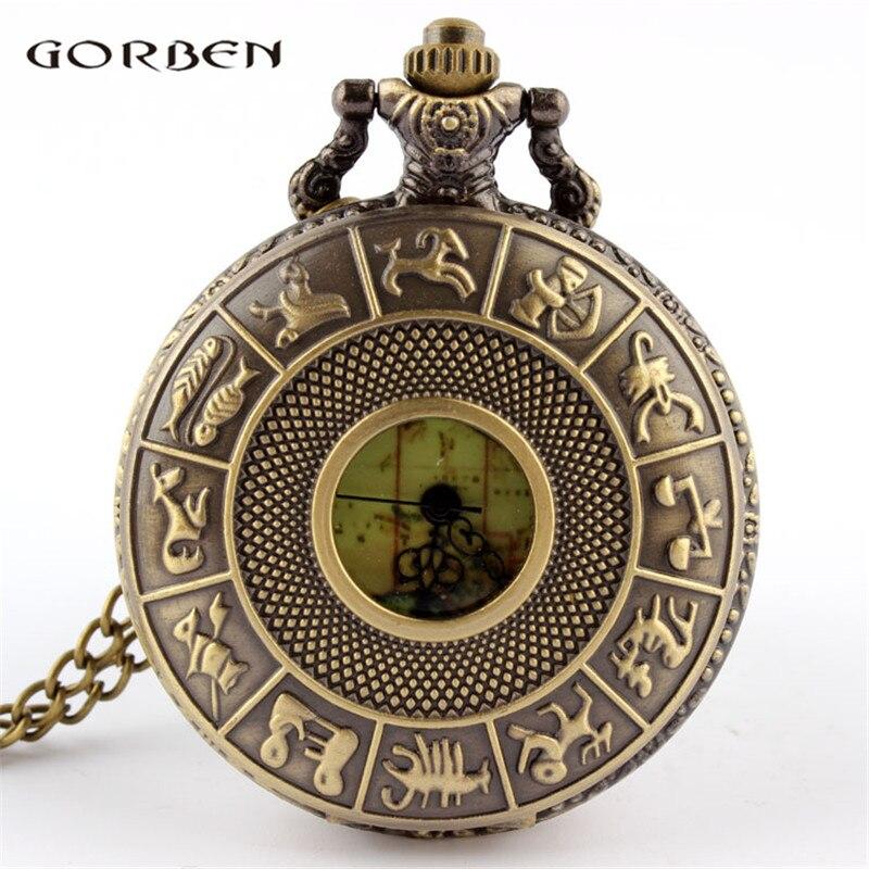 12 Constellations Design Victorian Style Vintage Pocket Watch Australia Map Quartz Pattern Pocket Watch With FOB Necklace Chain