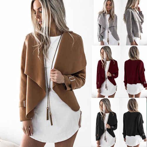 جديد أزياء المرأة سترة سترة معطف طويل كم منفضة فضفاض سترة سيدة عارضة الخريف في الهواء الطلق معطف سترة بدلة صدرية