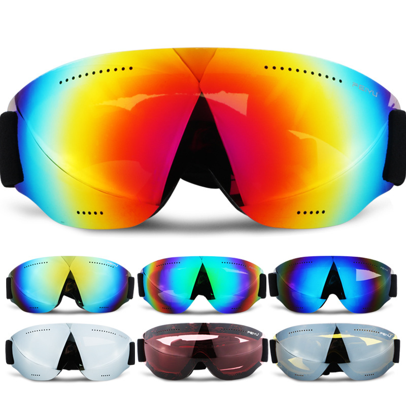 Men Women Monolayer Ski Glasses UV400 Anti fog Ski Goggles Snow Skiing Snowboard Goggles Kids Ski Masks Eyewear Sunglasses|Skiing Eyewear| |  - title=