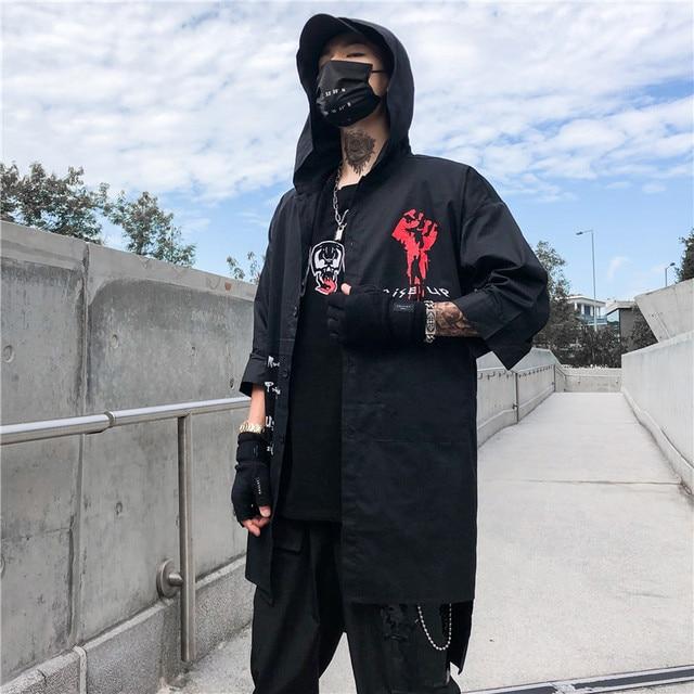 Windbreaker Coat Summer Autumn Street Devil Long Shirt Half Sleeve Hip Hop Jacets Men's Black Extended Joker Jacket Top GM57