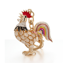 Opals Cock Rooster Chicken Lovely Crystal Keyrings Keychains Rhinestone HandBag Pendant Jewelry Key Chains Holder For women Bag