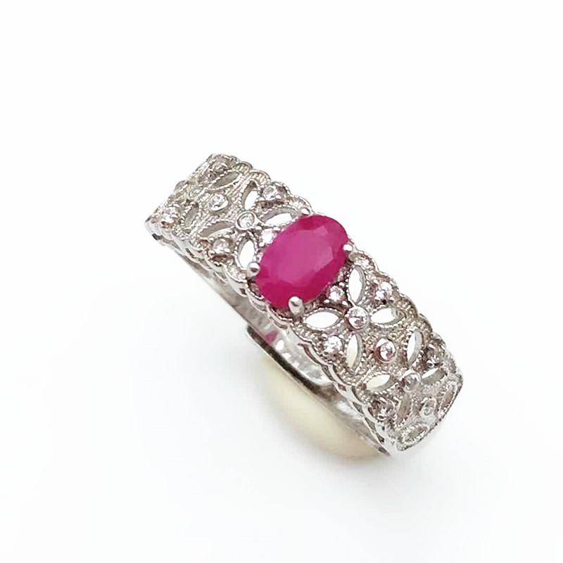 Natural Ruby Ring Genuine 925 Sterling Silver Genuine Precious Red Gem Stone Rings For Women Real Fine Jewelry