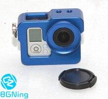 CNC boîtier de protection/Cage/coque avec capuchon dobjectif pour Gopro 3 / 3 + / 4 pièces de caméras daction rouge vert bleu or noir