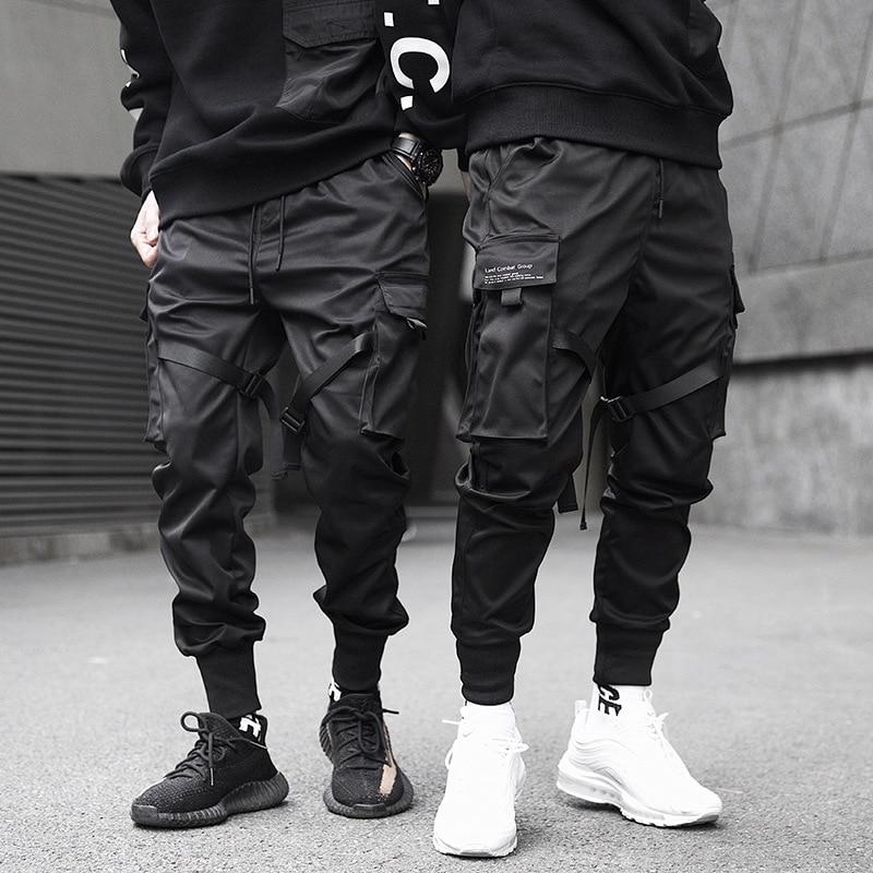 Cargo Pants Men Streetwear Tactical Paratrooper Pants Male Joggers Harajuku Sweatpant Hip Hop Ribbons Cargo Trousers Black Xd224