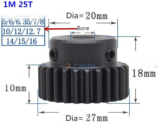 50pcs Mod 1 M 1 CNC Spur Gear pinion 25T 25Teeth Right Teeth positive gear 45