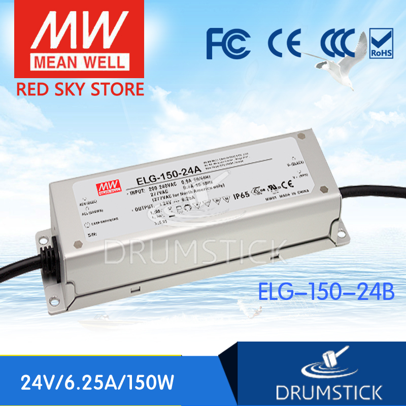 MEAN WELL ELG-150-24B 24V 6.25A meanwell ELG-150 24V 150W Single Output LED Driver Power Supply B type [Hot6] mean well hvgc 150 350a 42 428v 350ma meanwell hvgc 150 149 8w singleoutput led driver power supply a type