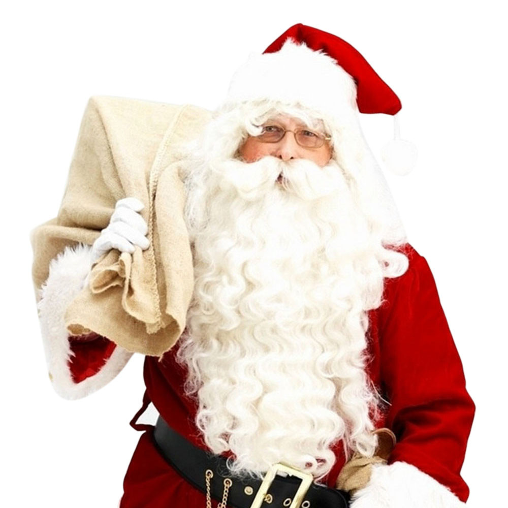 free shipping****^^ Deluxe Santa Christmas Santa Claus Wig + Beard Set Christmas Fancy Dress Claus Beard Heat Resistant Cosplay christmas santa claus high low plus size t shirt