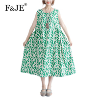 F JE 2017 Summer Fashion Women Loose Casual Sleeveless Dresses High Quality Cotton Print Vintage Long