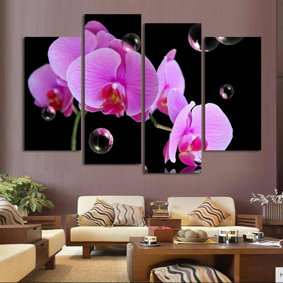 Modular Picture Artwork Canvas 4 Panel Orchids And Bubbles Wall Art Poster Painting Framework Modern Living Room Decorative