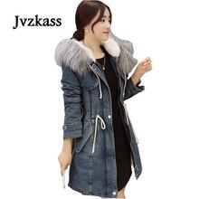 Jvzkass 2018 winter new real wool collar lamb hair denim coat jacket female long thick cotton Z250