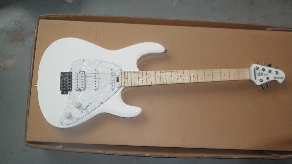 Free shipping Top Quality 6 strings SSH Ernie ball Music Manl signature special white colours Electric guitar with tremolo