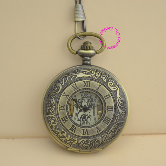 new wholesale price good quality vintage retro new antique bronze men father gift roman mechanical pocket watch hour chain silver mechanical pocket watch man smooth case open two vintage father stylish wind roman number hour good quality short chain