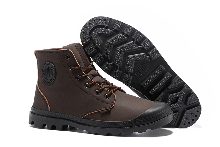 PALLADIUM Pampa Frosted Dark-Brown Leather High-top Ankle Boots Comfortable Lace Up Men Winter Hiking Shoes