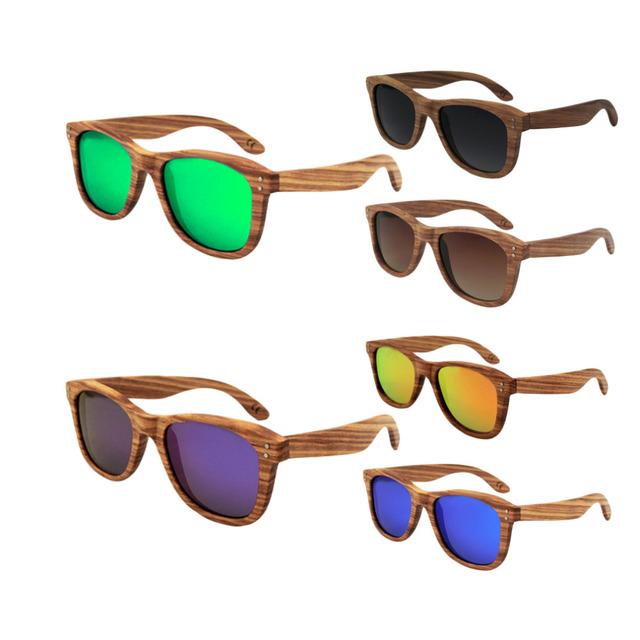 Popular unisex armação de bambu óculos polarizados óculos de sol óculos de sol de madeira do vintage com azul/verde/orange/cinza/roxo/cor marrom quente