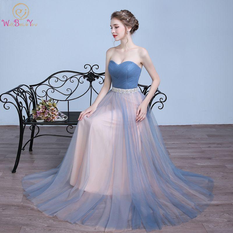 Walk Beside You vestido de festa largos elegantes de gala Blue Champagne Evening Dresses Contrast Color Beaded Belt Prom Gowns