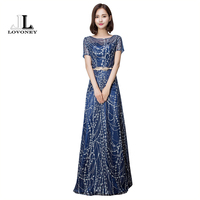 LOVONEY YLL534 Royal Blue Sequin Short Sleeves Prom Dresses With Sashes Party Dresses Women Prom Gowns
