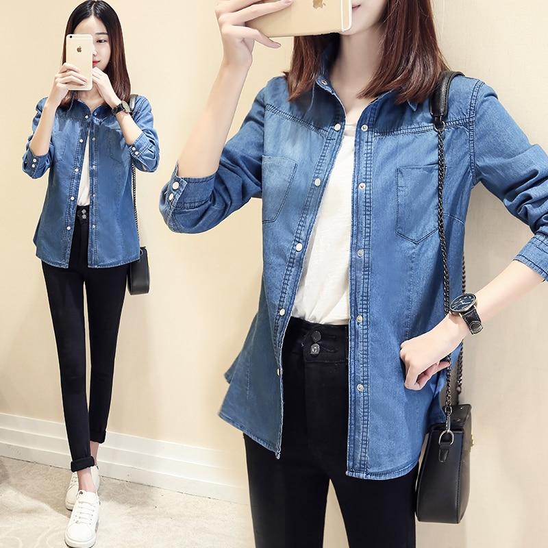 Longues Blouses Vintage Femme Manches Femmes Casual Poches Denim Chemise Dames Jeans Tops Coton Chemises Mode Solide À Bleu 7PpXwq