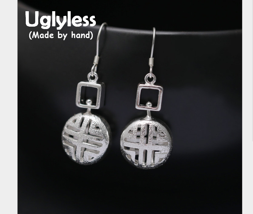 Uglyless Real S 990 Fine Silver Women Vintage Fine Jewelry Hollow Round Earrings Party Statement Square Brincos Bijoux Handmade