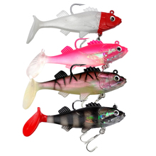 4PCS 10g/60mm Fishing Lure Soft Bait Jig With Lead Head Fish Treble Hook Fishhook Tackle