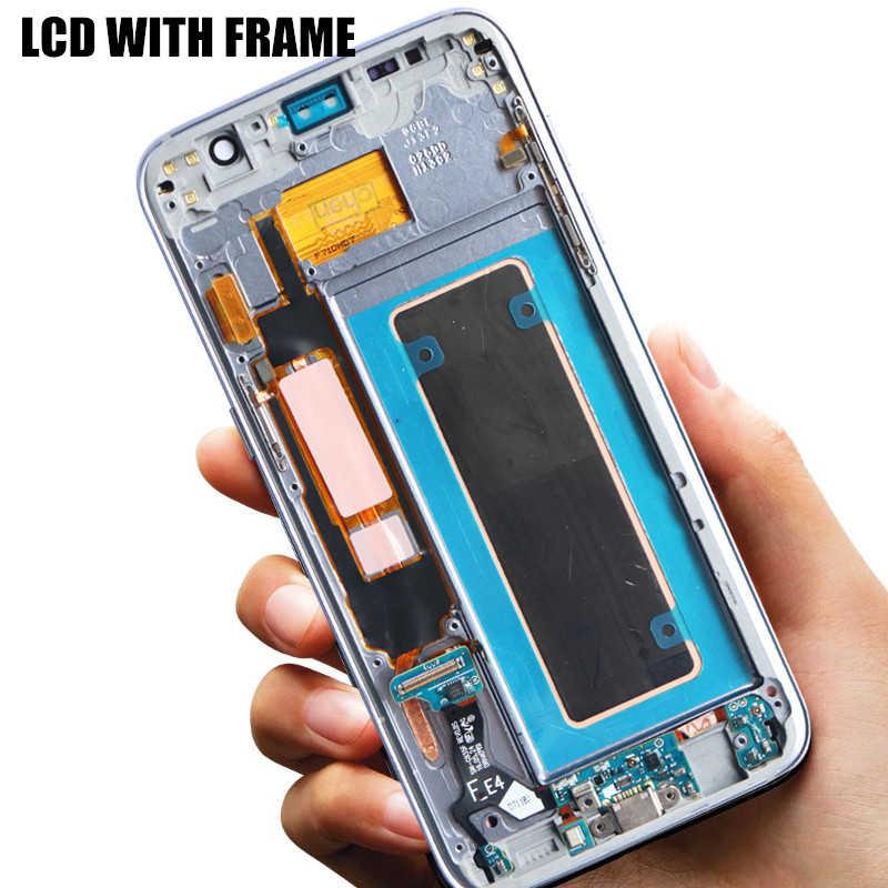 الأصلي 5.5 ''عرض مع حرق الظل LCD مع الإطار لسامسونج غالاكسي S7 حافة G935 G935F مجموعة المحولات الرقمية لشاشة تعمل بلمس