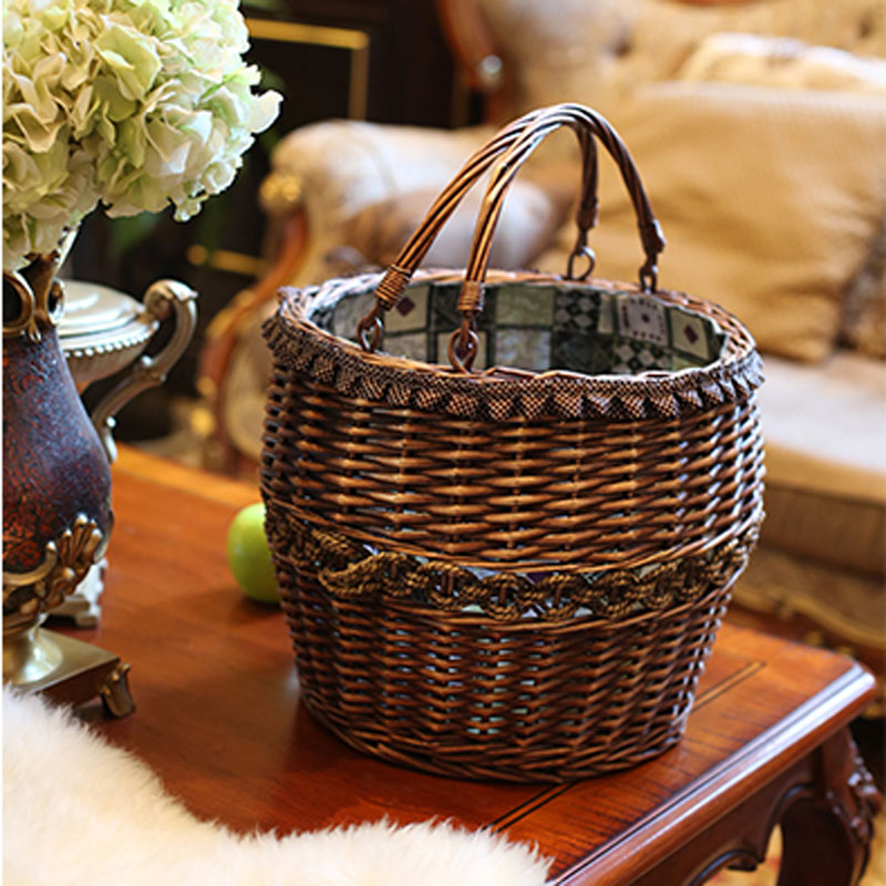 Handmade Vintage Wicker laundry basket Home Decoration Storage ...