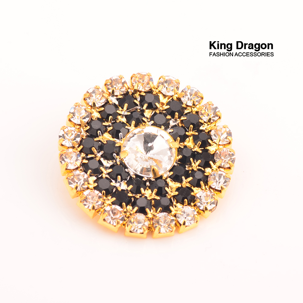 New Arrival Sparkly Black Rhinestone Buttons 27MM 20pcs/lot Shank Back Gold Color KD50
