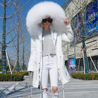 New Women's Clothing 2018 Winter Jackets and Coats Real Raccoon Fur Parka Hooded Fashion Warm Outerwear Black White Red Shell