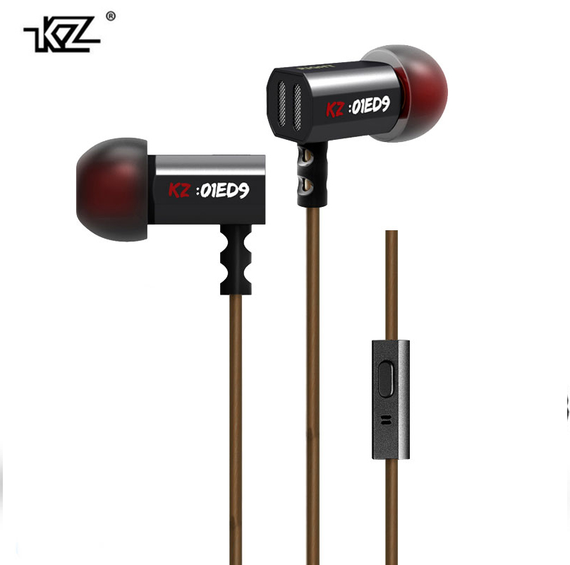 KZ ED9 Super Bass In Ear Music Earphone With DJ HIFI Stereo Earbuds Noise Isolating Sport Earphones With Mic+ bags kz ed9 in ear 3 5mm super bass in ear earphones silver