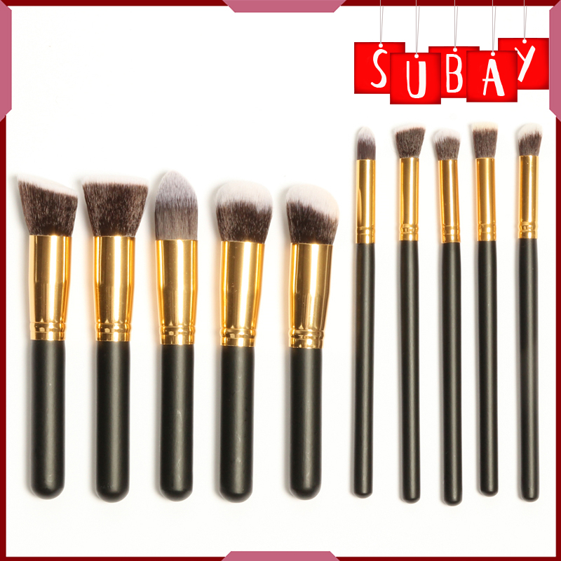 10Pcs Soft Synthetic Hair Make up Tools Kit Cosmetic Beauty Black Makeup Brush Sets best quality fast shipping 15 pcs soft synthetic hair make up tools kit cosmetic beauty makeup brush black set with leather case