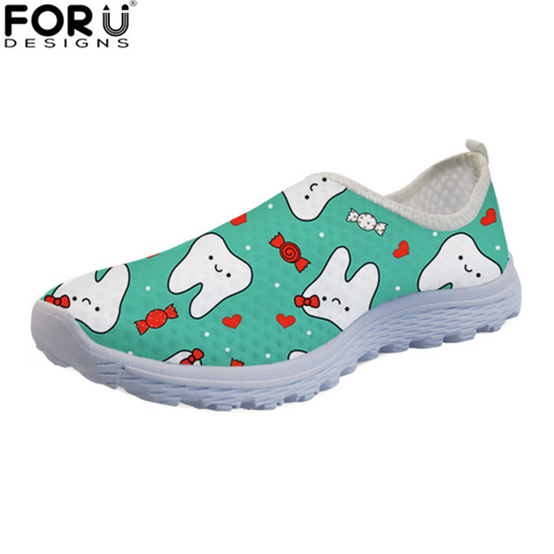 FORUDESIGNS Cute Cartoon 3D Dentist Women Summer Lightweight Flats Breathable Mesh Shoes Casual Female Slip-on Beach Loafers forudesigns women casual sneaker cartoon cute nurse printed flats fashion women s summer comfortable breathable girls flat shoes