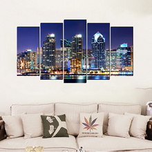City night scene modern Europe canvas painting realist art prints 5 psc pretty wall picture for bedroom cafe living room study realist interviewing