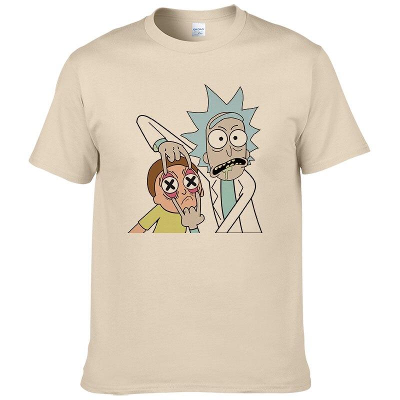 Engraçado Homens Camisetas rick morty T-shirt Dos Homens 100% Algodão de Manga Curta T Camisa Masculina Manga Curta Camisa Masculina Tshirt #277
