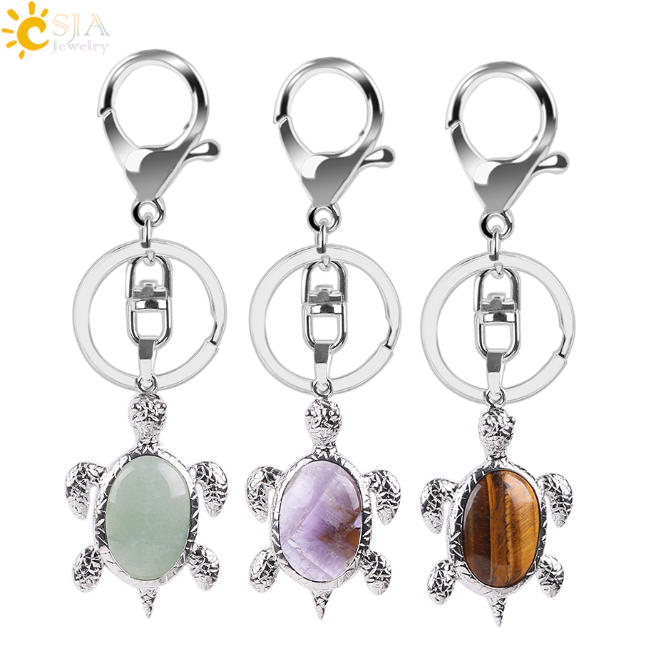 CSJA Natural Crystal Stone Turtle Pendant Car Keychains For Ladies Men Bag Decoration Keyrings Buckle Holder Christmas Gift E814