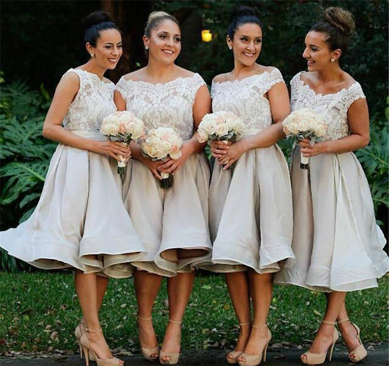 Knee Length   Bridesmaid     Dresses   2019 New A Line Off Shoulder Summer Country Garden Formal Wedding Party Guest Maid of Honor Gowns