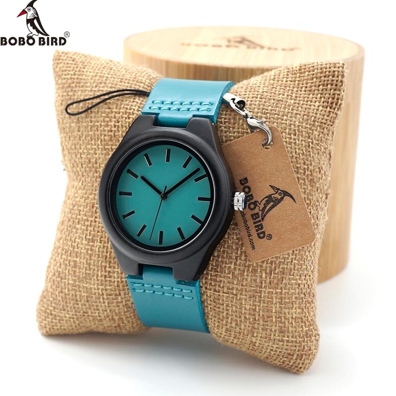 BOBO BIRD Ebony Wood Quartz Wristwatch Lover's Casual Dress Wristwatch With Leather Strap Relojes Mujer In Wood Box