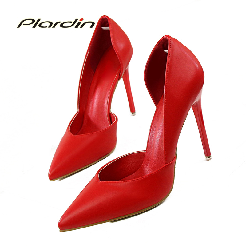 Plardin 2018 Summer Shoes Woman Sweet Women Party Wedding Shallow Mouth Cut Out Two Piece Ladies Shoes Thin High Heel Pumps sweet women s pumps with two piece and patent leather design