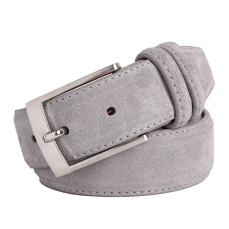 New Fashion Genuine Leather Suede Men's Cowhide Belt Luxury Brand Brushed Metal Pin Buckle