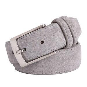 Image 1 - Nieuwe Mode Echt Leer Suede Mannen Koeienhuid Riem Luxe Merk Geborsteld Metalen Pin Gesp