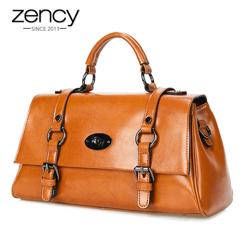 все цены на Zency Fashion Brown Women Handbag 100% Natural Leather Lady Casual Tote High Quality Satchels Female Messenger Crossbody Purse онлайн