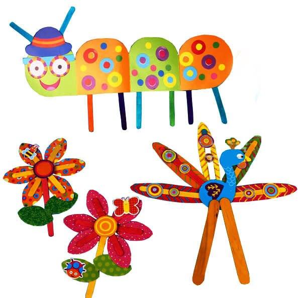 9 Patterns Children Diy Cartoon Color Popsicle Stick Toys Kids