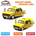 1/32 Metal Car Toys, 15Cm Diecast Russian LADA Taxi Model, Children Boys Present With Box/Openable Door/Pull Back Function/Music