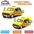 1/32 metal car toys, 15 Cm Diecast Modelo de Taxi LADA Ruso, niños Chicos Presentes Con la Caja/de la Puerta Se Puede Abrir/Tire Hacia Atrás la Función/Música