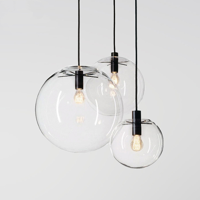 Modern Nordic Pendant Lights Clear Globe Glass Pendant Lamps Bubble Ball LED E27 light Fixtures For Living Room Kitchen Lustre tuda 29x60cm 3w led table lamp european style iron desk lamp modern fashion simple living room study bedroom bedside lamp