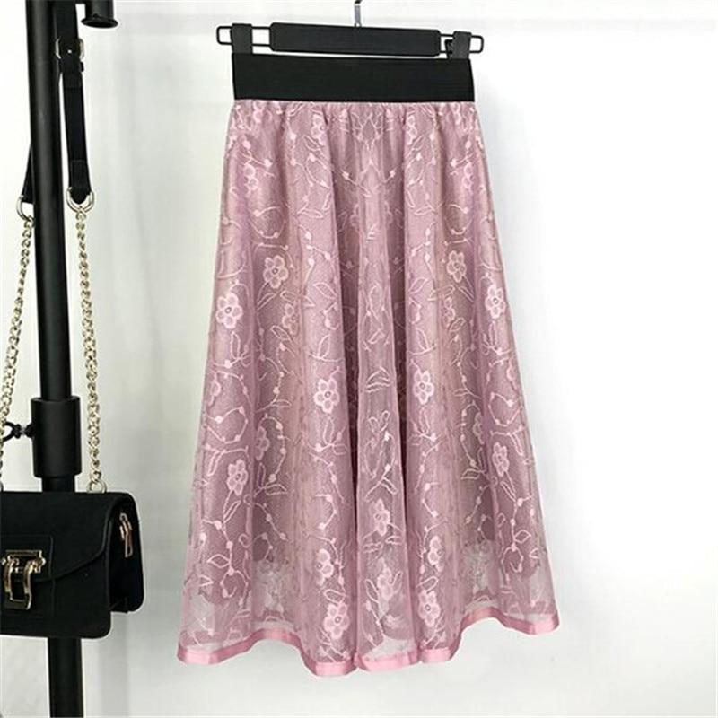 2018 High Quality Skirts New Women Girls Middle Long Calf Elastic Waist Lace Sexy Skirt Summer Elegant High Waist Skirts