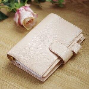 Image 1 - دفتر a6 yiwi 100% جلد طبيعي اليدوية الذهب دوامة دفتر البقر خمر مجلة مخطط لولبية يوميات مع جيب