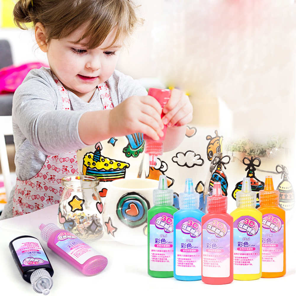 Creative 3D Stereo-free Baking Glue Painting Coloring Painting Kids Handmade DIY Painted Crystal Glue DIY Toys For Children Gift